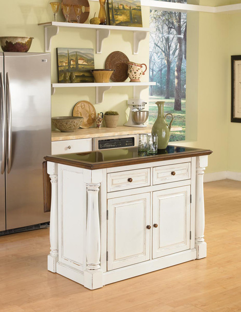 Monarch Antiqued White Kitchen Island with Granite Top contemporary-kitchen-islands-and-kitchen-carts