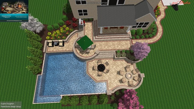 Gunite Pool w/Pool Deck & Outdoor Living modern
