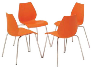 Maui Side Chair, Set of 2, Matte Orange modern-dining-chairs