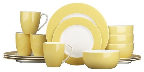 Hamptons Yellow 16-Piece Dinnerware Set modern-dinnerware