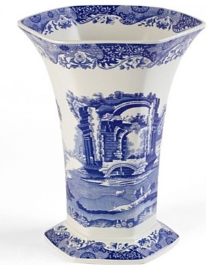 Spode Blue Italian Hexagonal Vase, 10.5 traditional vases