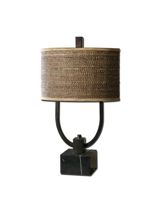 Uttermost Stabina - Rustic bronze metal with burnished edges and a black marble foot. The oval drum shade is brown and tan woven rattan with decorative trim.
