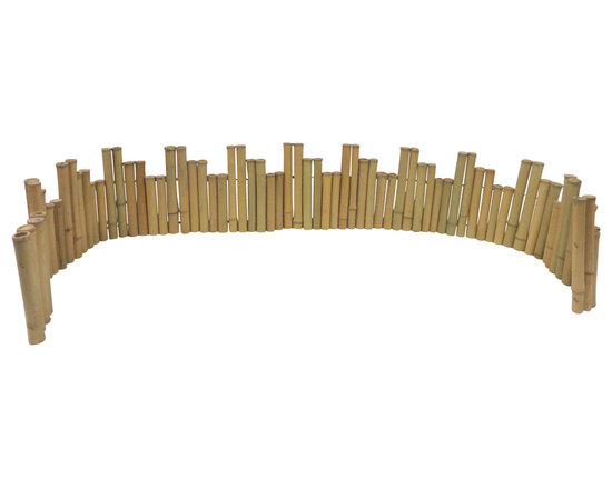 """Master Garden Products - Unlevel Regular Bamboo Edging, 96"""" wide - These self- standing bamboo edgings are great as accents in your garden. These are made of 1.5 diameter bamboo poles for visual enhancement. It is flexible and can be bent to different shapes, such as a circle. The top of the poles are cut just above the notch so water will not accumulate in the bamboo poles. The bamboo is drilled and strung together using heavy galvanized wire but designed in a way so that no wire is visible. Comes in rolled form so it is flexible and very easy to install."""