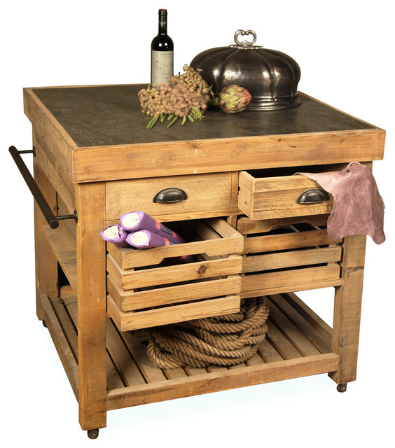 Belaney Rustic Lodge Pine Wood Stone Small Kitchen Island - Transitional - Kitchen Islands And ...