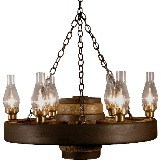 Wagon Wheel Light Chandelier: Small Wagon Wheel Chandelier Chimney Lights