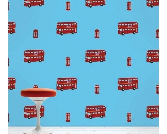 Double Decker Bus Removable Wallpaper - Wish decorating flowed as smoothly as the Thames on a moonlit night? This London-loving peel and stick wallpaper can transform your space without making a mess.