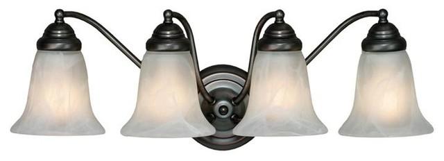 Feiss Bristol 2 Light Vanity Fixture In Oil Rubbed Bronze: Centennial ORB 4-Bulb Vanity Light In Oil Rubbed Bronze