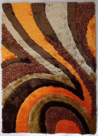 5 Ft X 7 Ft Hand Tufted Brown Orange Living Room Shaggy