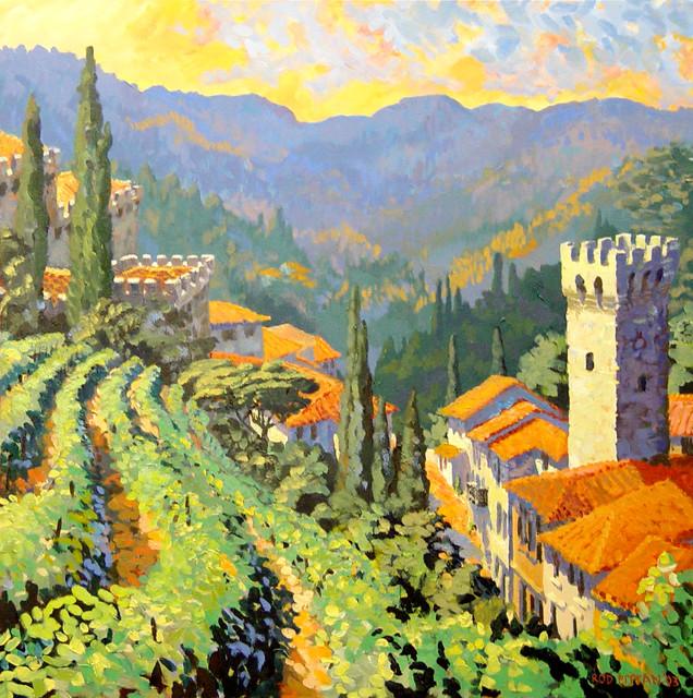 Tuscan Village and Vineyard mediterranean-artwork