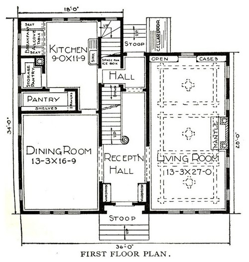 Modifying a sears kit home floor plan for Half size set of plans