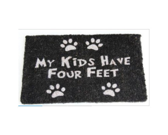 "Coir Four Feet Paws Doormat - Homescapes have now come out with a lovely collection of doormats. The collection is made keeping in mind a variety of tastes and preferences. There's a mat for everyone with themes like, Dog/Cat/ Horse lovers, ""Love Hearts"", ""Just Married"", union Jack, stripes, various ""welcome"" designs, Hello, goodbye and novelty mats."