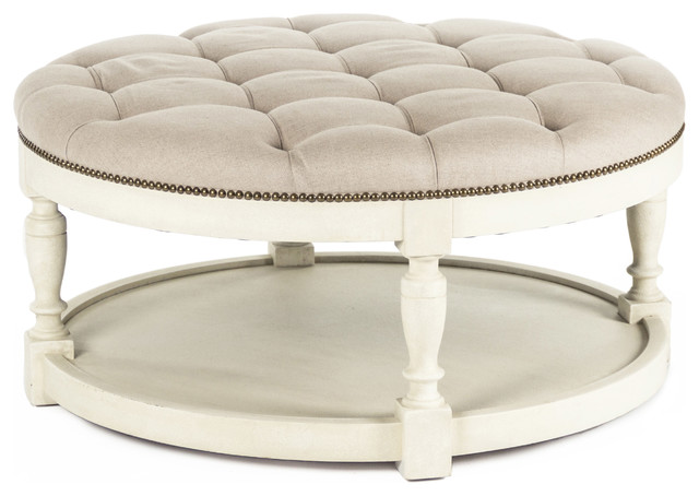 Marseille French Country Cream Ivory Linen Round Tufted Coffee Table Ottoman Transitional