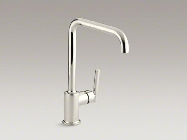 "KOHLER Purist(R) single-hole kitchen sink faucet with 8"" spout contemporary-kitchen-sinks"