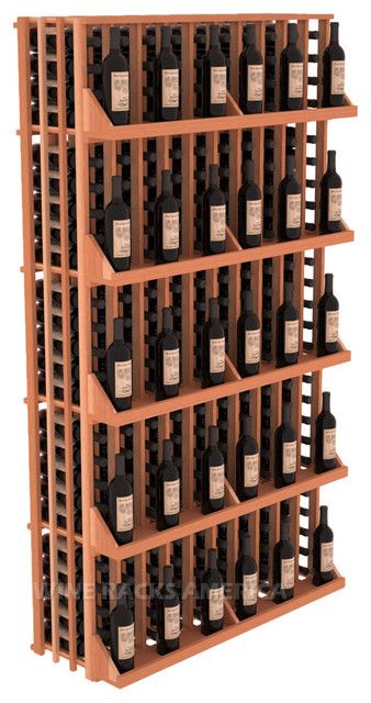 10 Column Wall Display 240 Bottle in Redwood traditional-wine-racks