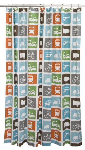 DwellStudio Transportation Shower Curtain modern-shower-curtains