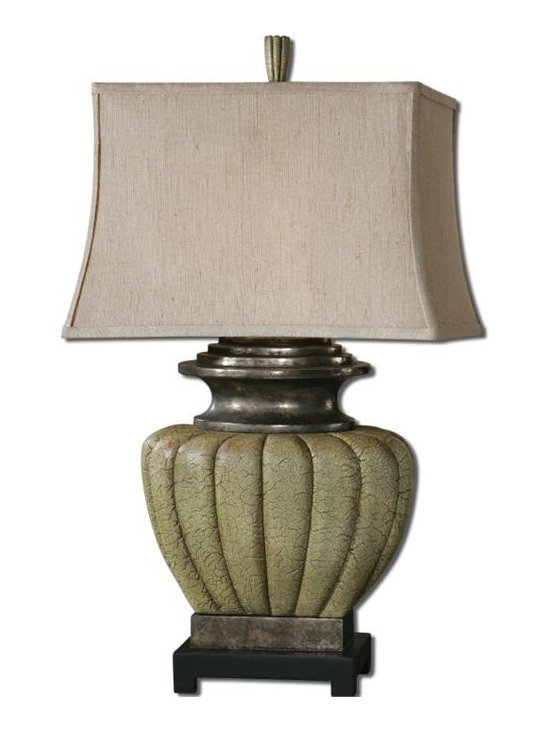 Uttermost Tufillo - Crackled pale green finish with rust distressing, tan undertones and antiqued pewter details. The rectangle bell shade is a khaki linen fabric with rustic slubbing.