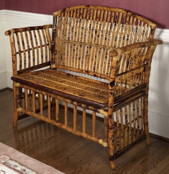 Bamboo Settee By Kenian tropical-indoor-benches