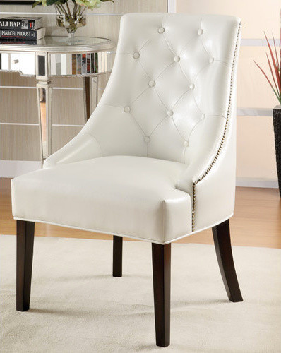 leather ike lounge chair white finish modern dining