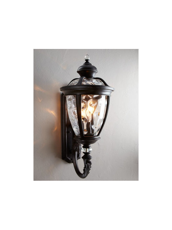 "Horchow - Sloane Outdoor Sconce - Traditional outdoor sconce features clear hammered glass and a hand-painted ""Baltic granite"" finish. Uses five 60-watt bulbs. 10.5""W x 14.5""D x 24""T. Imported. Boxed weight, approximately 31 lbs. Please note that this item may require additional..."