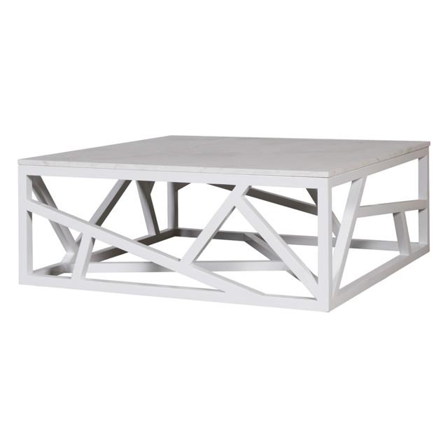 Dk Living Marble And Wood White Coffee Table