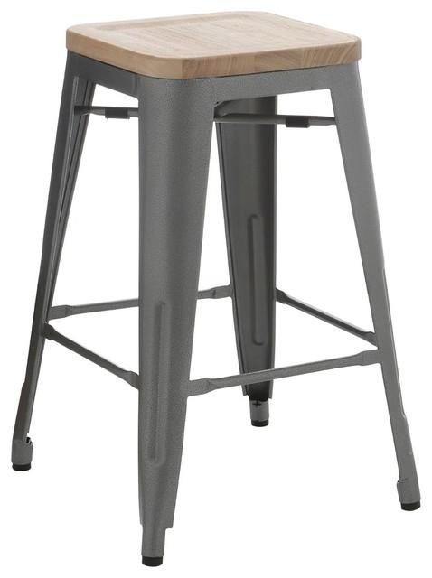 Pauchard Gunmetal Grey Metal Stool Ash Seat Industrial