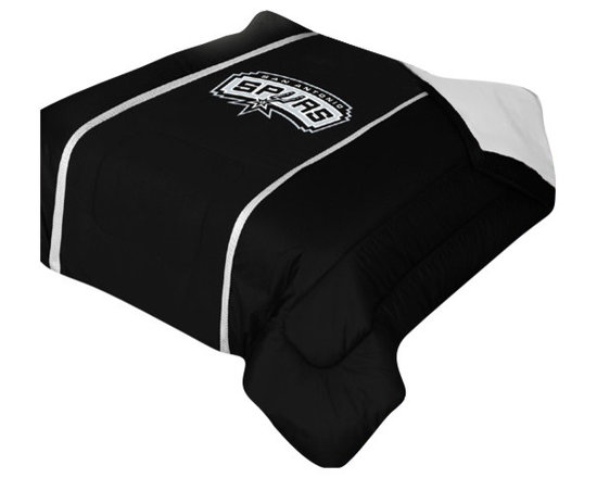 """Zappysales - San Antonio Spurs Sidelines Comforter Queen - Comforter Full/Queen 86"""" x 86"""". Covers are 100% Polyester Jersey top and bottom side, filled with 100% Polyester Batting. Logos are screenprinted. Machine washable in warm water, and tumble dry on low heat."""