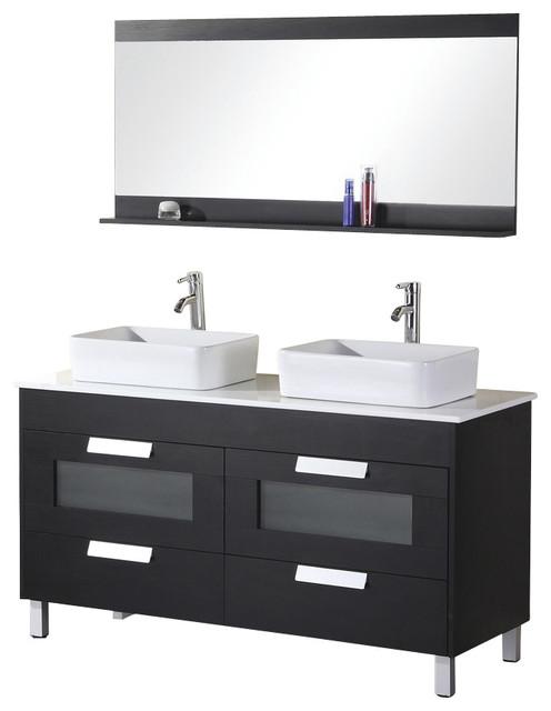 Design Element Francesca Five Wenge Modern Double Vessel Sink Vanity Set Modern Bathroom