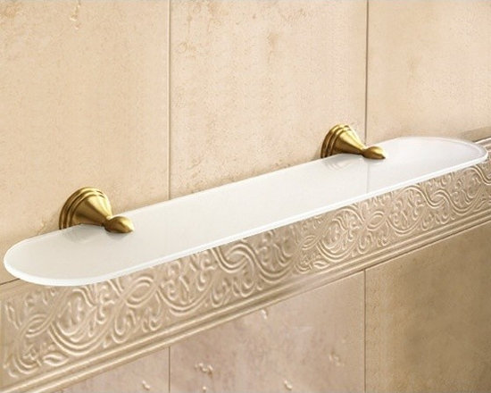 """Vintage Frosted Glass Bathroom Shelf - 24"""" bathroom shelf made of frosted glass and brass with a bronze finish. Designed by Gedy in Italy. Width:23.6"""" Height:2.2"""" Depth:5"""""""