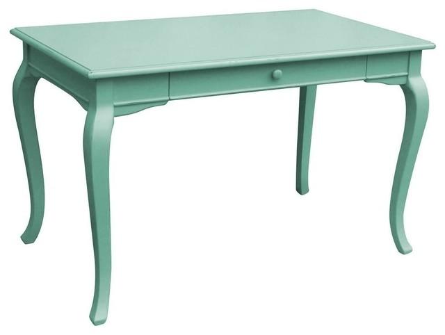 New Desk Blue Computer Painted Hardwood traditional-desks