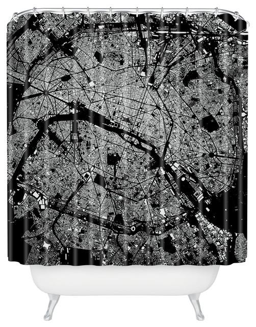 CityFabric Inc Paris Black Shower Curtain contemporary shower curtains