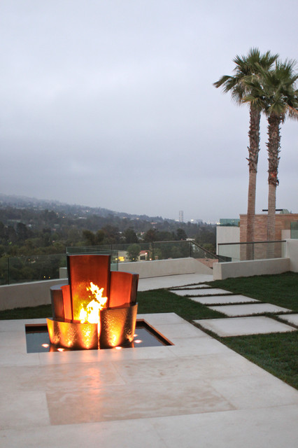 Bel Air Residence contemporary-firepits