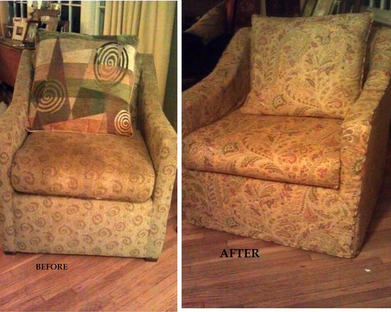 Slipcover - An old chair given a new life with a pretty paisley print slipcover