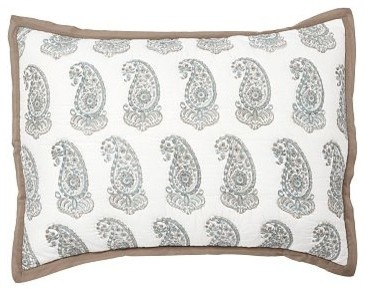 Lynette Paisley Reversible Quilted Sham, Standard, Blue traditional-shams