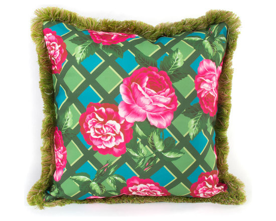 Greenhouse Outdoor Square Pillow | MacKenzie-Childs - A bright outdoor accent to complement our Greenhouse Outdoor Furniture Collection, or to toss anywhere you need a dose of vibrant summer color. Rose-on-lattice background reverses to a vibrant graphic plaid. Green fringed trim.