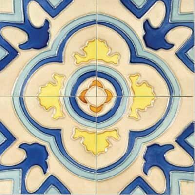"Emperador 6"" x 6"" Blue 6"" x 6"" Deco Tiles Glossy Ceramic mediterranean-tile"