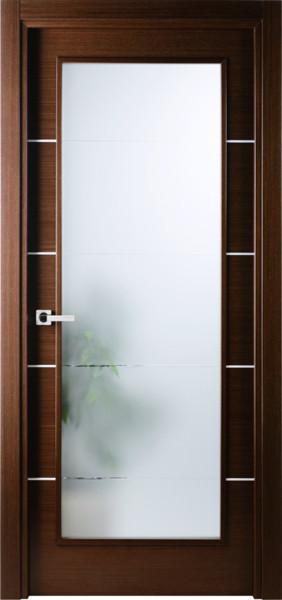 Italian Wenge Interior Single Door W Frosted Glass Decorative Strips Contemporary Interior