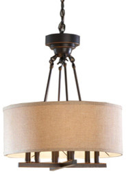 allen + roth Bronze Pendant Light with Fabric Shade mediterranean chandeliers