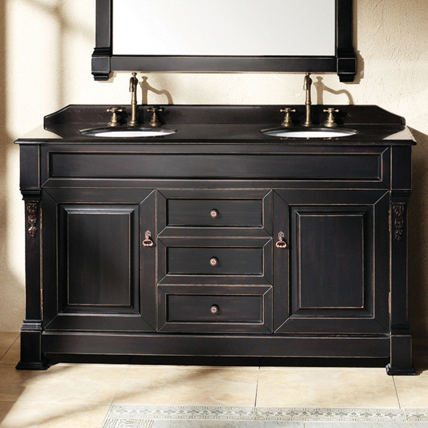 Bates 60 In Double Vanity Antique Black Transitional
