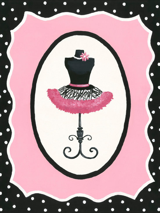 Sherri Blum, Jack and Jill Interiors, Inc. - Oui Paris French Dress Form Canvas Wall Art, Pink Black Tutu Decor for Girls - Seeking pink and black decor for your girl who loves Paris? Take you and your little one to a French boutique with Sherri Blum's whimsical wall art for children in pink surrounded by black and white polka dots. Indulge in chic kids' wall decor for your little bambin, creating the perfect Parisian presence.