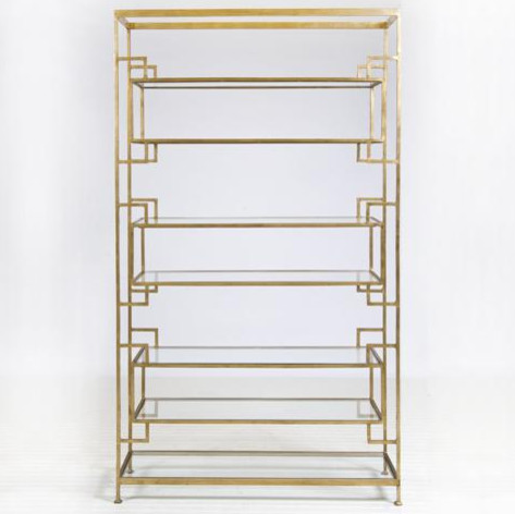 Worlds Away Lamar Gold Leafed Etagere traditional-display-and-wall-shelves