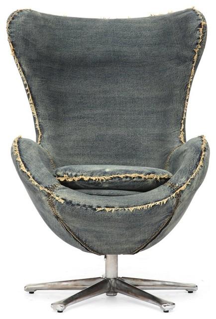 Collins Blue Denim Egg Arm Chair modern