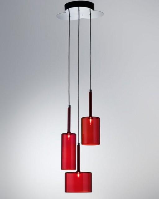 Modern red pendant lighting : Spillray triple suspension red pendant light lights