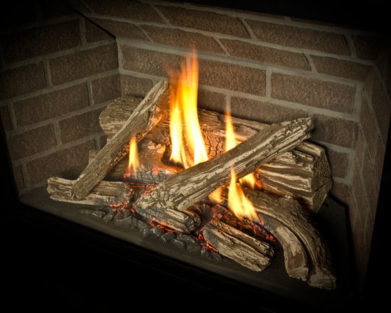 H5 Series Fireplace - 1150I H5 Engine shown with Traditional Log Set