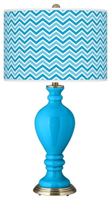 Contemporary Sky Blue Narrow Zig Zag Civitia Table Lamp contemporary-table-lamps