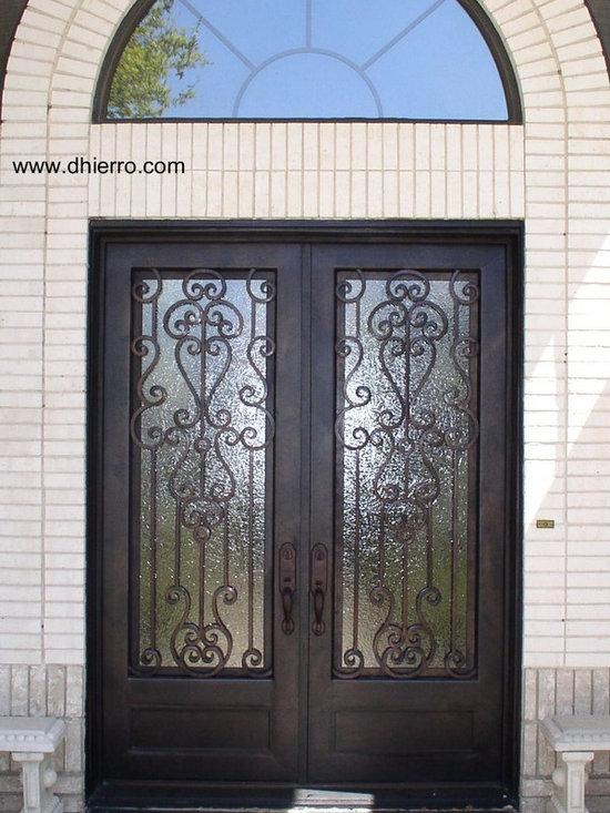 Iron Doors - Exterior - Double Iron Door with Kickplate