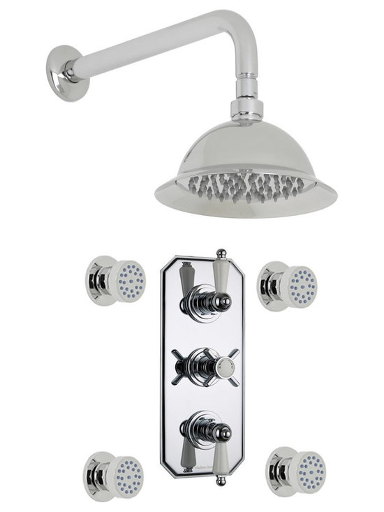 """Hudson Reed - Beaumont Thermostatic Shower System, Round Rose & Arm & Jet Sprays - Enjoy a spa like showering experience with the Beaumont shower system from Hudson Reed. This high quality shower system comes complete with the 8 rose shower head and arm, six massaging body sprays and the triple thermostatic shower valve.Made in Great Britain, the thermostatic shower valve supplies water at a pre-set maximum temperature. Featuring ceramic disc technology, the shower valve has a built-in anti-scald device for complete peace of mind. Hudson Reed Thermostatic Triple Shower Valve Details   Solid brass rough-in valve Made in Great Britain Serviceable check valves and strainers Ceramic Disc Technology Pre-set maximum temperature 104ºf Automatic anti scald device Recommended pressure for best performance 2 to 75 psi  ½ NPT Inlets and Outlets Compatible with standard US plumbing connections Compatible with combi boilers, gravity fed systems, unvented mains pressure systems and for shower pumps Warranty: 10 years  Hudson Reed Round Body Jet Details   Chrome finish Sliding collar IAPMO approved 1/2 NPT inlet Easy clean nozzles 9.5L/min 2.5gpm regulator installed Made from solid brass Single spray pattern  Hudson Reed 8 Shower Rose Details   IAPMO Approved 1/2 NPT inlets Chrome finish Easy clean nozzles 9.5L/min 2.5gpm regulator installed Supplied with 13 wall mounted arm  Shower Consists of:     UFG-HR721Triple Valve Body Only Concealed  UFG-HRPS709Traditional Triple Trim Plate   UFG-HRH713Beaumont Crosshead Temperature Handle  UFG-HRH715Beaumont Flow Control Lever  UFG-HRBT701Round Sheer Body Jet  UFG-HRSH706Shower Rose 8""""  UFG-HRAM701Wall Mounted 13"""""""