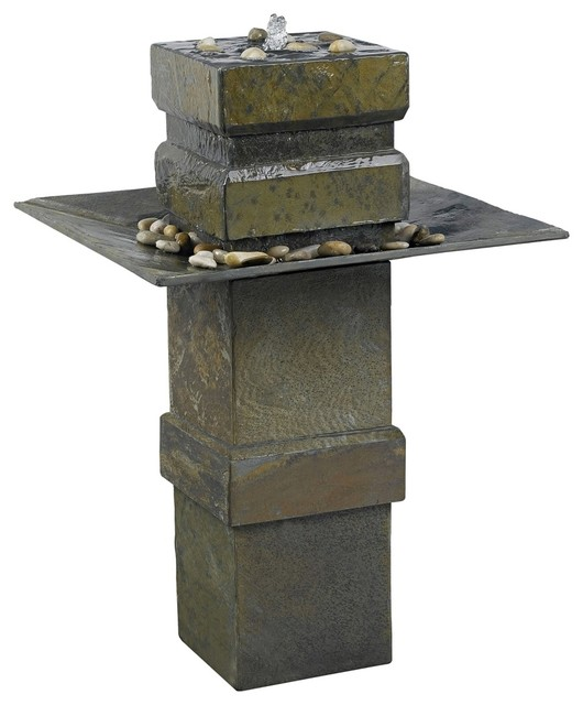 Kenroy Home Cubist Natural Slate Floor Fountain contemporary-outdoor-fountains-and-ponds