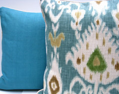 Turquoise Ikat pillow modern-upholstery-fabric