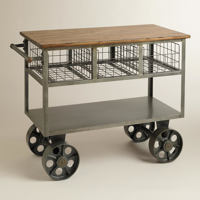 Bryant Mobile Kitchen Cart - Industrial - Kitchen Islands ...