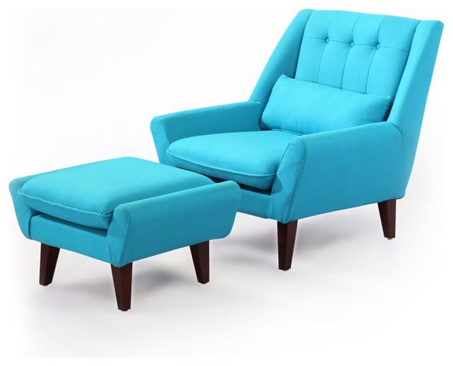 Kardiel Stuart Mid Century Modern Lounge Chair Ottoman Deco Blue Cashm